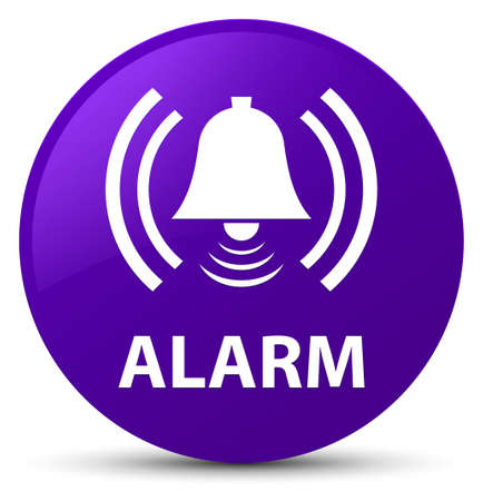 Alarm (bell icon) isolated on purple round button abstract illustration