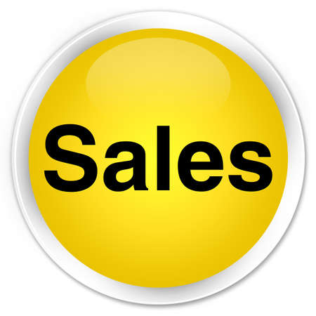 Sales isolated on premium yellow round button abstract illustration