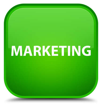Marketing isolated on special green square button abstract illustration