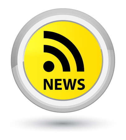 News (RSS icon) isolated on prime yellow round button abstract illustration Stock Photo