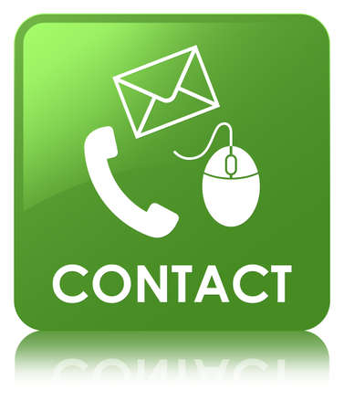 Contact (phone email and mouse icon) soft green isolated on square button reflected abstract illustration