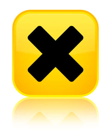 Cancel icon isolated on special yellow square button reflected abstract illustration Stock Photo