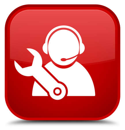 Tech support icon isolated on special red square button abstract illustration Stock Photo