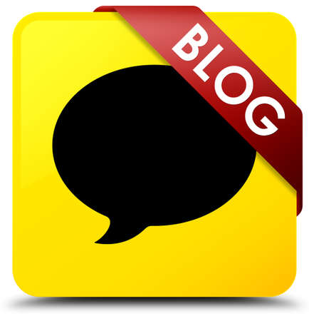Blog (conversation icon) isolated on yellow square button with red ribbon in corner abstract illustration Stock Photo