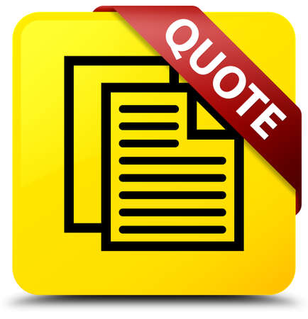 Quote (document pages icon) isolated on yellow square button with red ribbon in corner abstract illustration Stock Photo