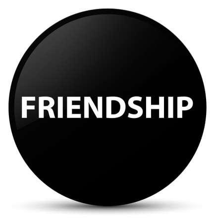 Friendship isolated on black round button abstract illustration