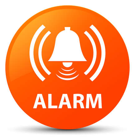 Alarm (bell icon) isolated on orange round button abstract illustration Stock Photo