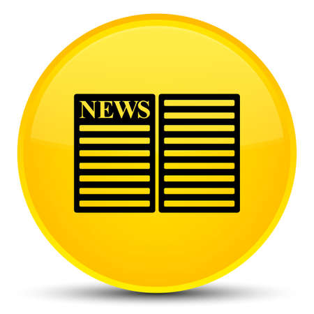 Newspaper icon isolated on special yellow round button abstract illustration Stock Photo