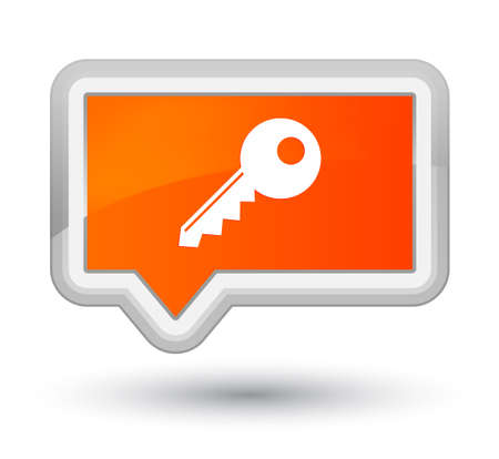 プライムオレンジのバナーボタンの抽象的なイラストに分離されたキーアイコン 写真素材