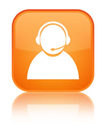 Customer care icon isolated on special orange square button reflected abstract illustration