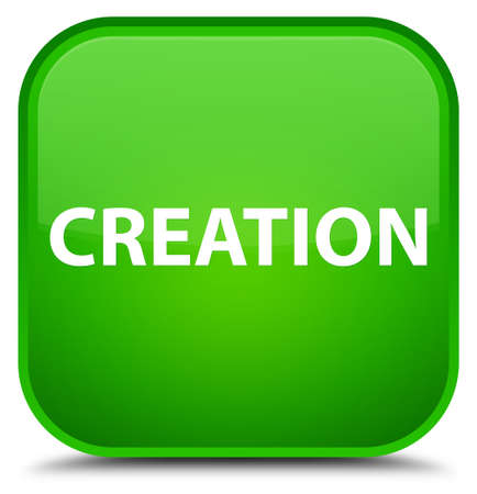 Creation isolated on special green square button abstract illustration Stock Photo