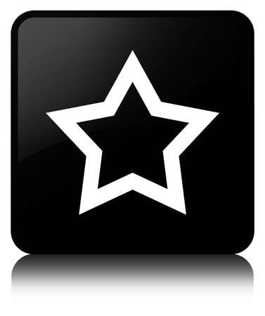 Star icon isolated on black square button reflected abstract illustration