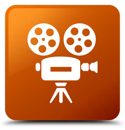 Video camera icon isolated on brown square button abstract illustration Stock Photo