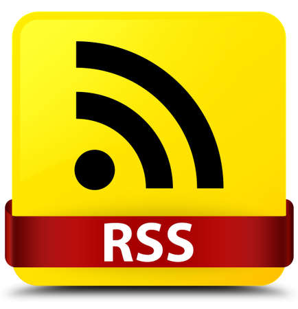 RSS isolated on yellow square button with red ribbon in middle abstract illustration