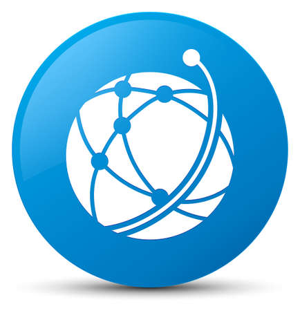 Global network icon isolated on cyan blue round button abstract illustration