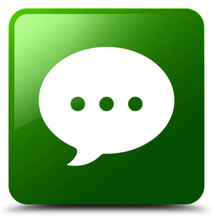 Conversation icon isolated on green square button abstract illustration