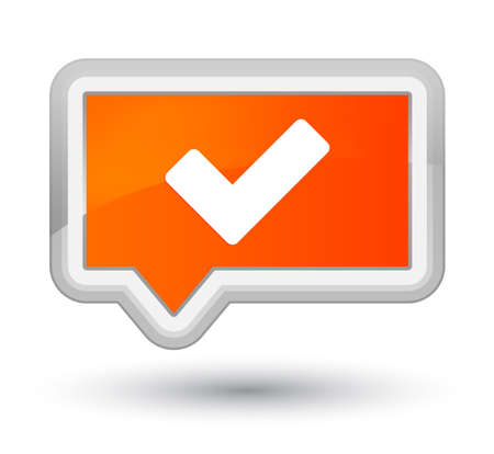 Validate icon isolated on prime orange banner button abstract illustration