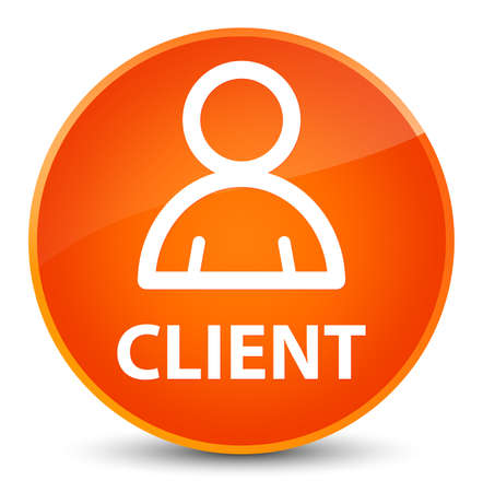 Client (member icon) isolated on elegant orange round button abstract illustration