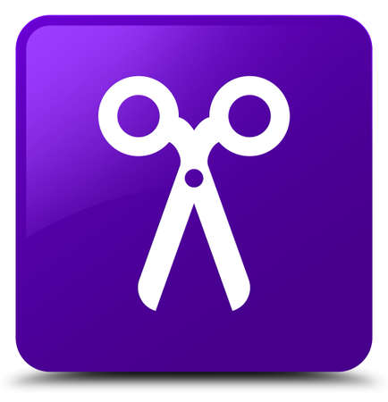 Scissors icon isolated on purple square button abstract illustration