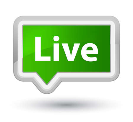 Live isolated on prime green banner button abstract illustration