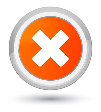Cancel icon isolated on prime orange round button abstract illustration