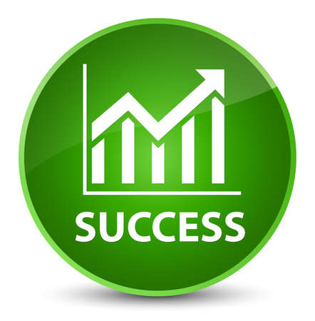 Success (statistics icon) isolated on elegant green round button abstract illustration