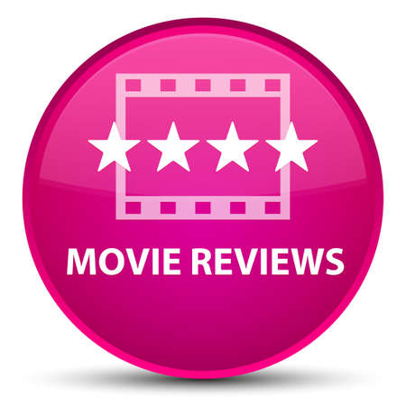 Movie reviews isolated on special pink round button abstract illustration