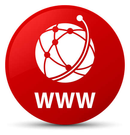 WWW (global network icon) isolated on red round button abstract illustration Stock Illustration - 89694239