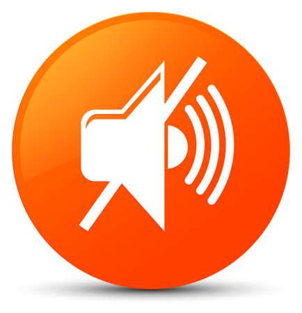 Mute volume icon isolated on orange round button abstract illustration Stock Photo
