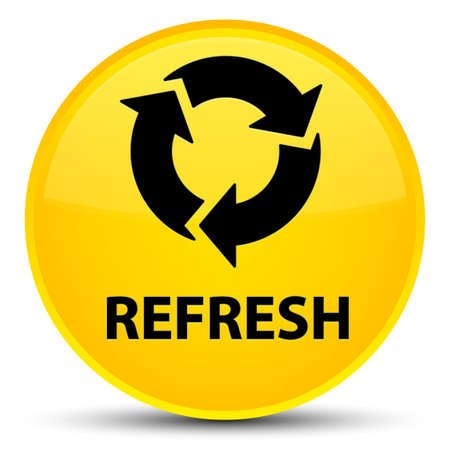 improving: Refresh isolated on special yellow round button abstract illustration