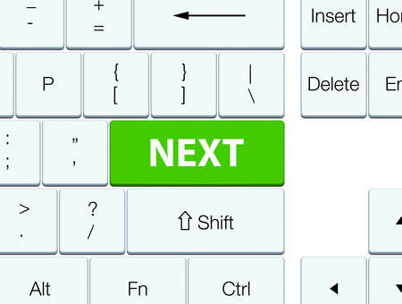 Next isolated on soft green keyboard button abstract illustration