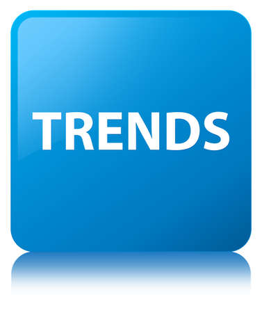 Trends isolated on cyan blue square button reflected abstract illustration Stok Fotoğraf