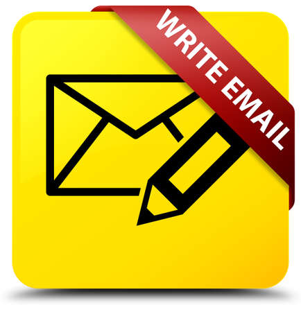 Write email isolated on yellow square button with red ribbon in corner abstract illustration Stock Photo