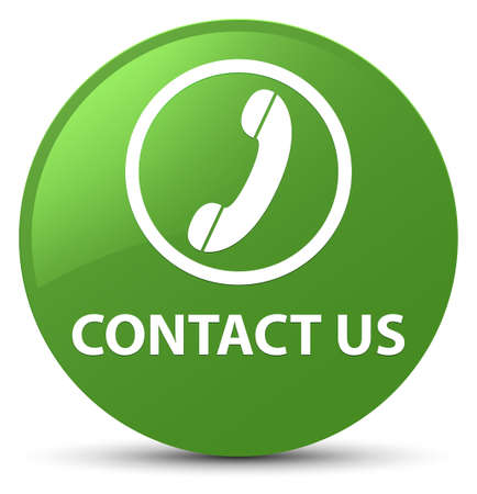 hotline: Contact us (phone icon) isolated on soft green round button abstract illustration Stock Photo