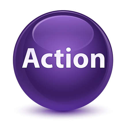 Action isolated on glassy purple round button abstract illustration