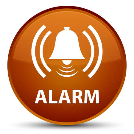 Alarm (bell icon) isolated on special brown round button abstract illustration Stock Photo