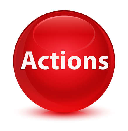 Actions isolated on glassy red round button abstract illustration Фото со стока
