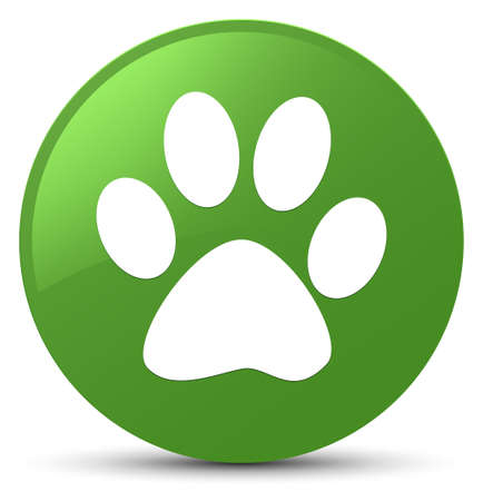 Animal footprint icon isolated on soft green round button abstract illustration