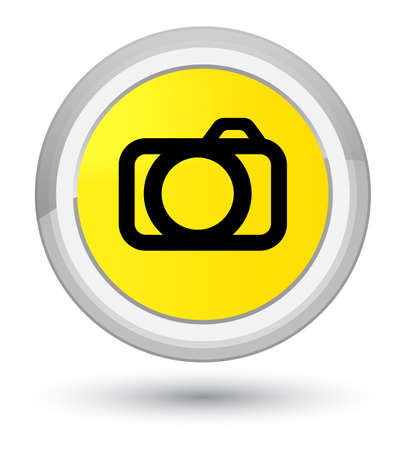Camera icon isolated on prime yellow round button abstract illustration Stock Photo