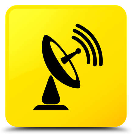 Satellite dish icon isolated on yellow square button abstract illustration Stock Photo