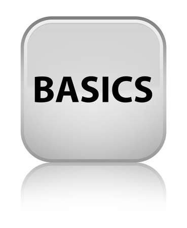 Basics isolated on special white square button reflected abstract illustration