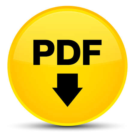 PDF download icon isolated on special yellow round button abstract illustration Stock Photo