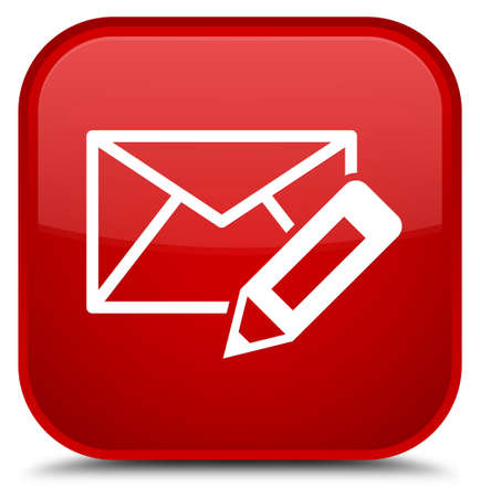 Edit email icon isolated on special red square button abstract illustration