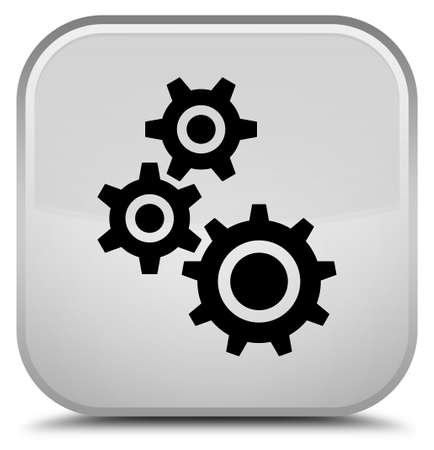 Gears icon isolated on special white square button abstract illustration
