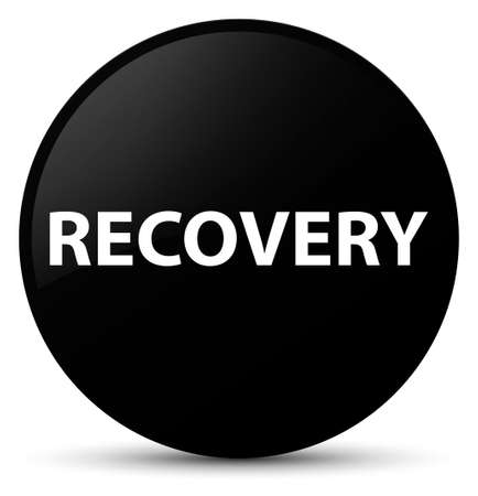 Recovery isolated on black round button abstract illustration