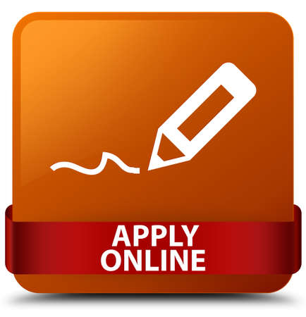 Apply online (edit pen icon) isolated on brown square button with red ribbon in middle abstract illustration