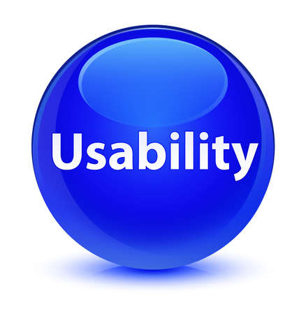 Usability isolated on glassy blue round button abstract illustration