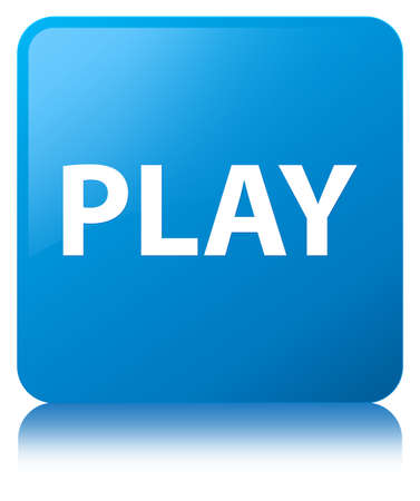 Play isolated on cyan blue square button reflected abstract illustration