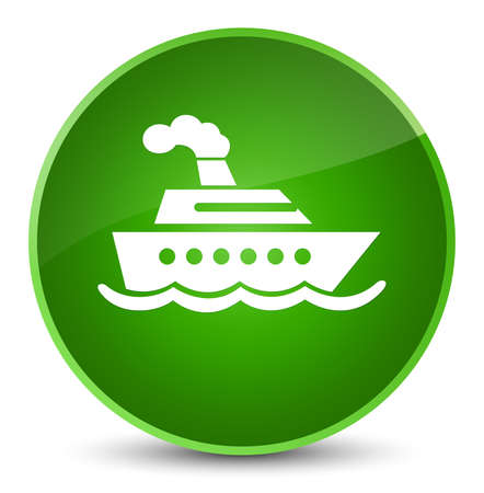 Cruise ship icon isolated on elegant green round button abstract illustration