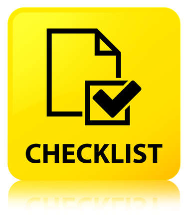 Checklist isolated on yellow square button reflected abstract illustration Stock Photo